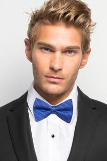 Royal Blue Striped Bow Tie