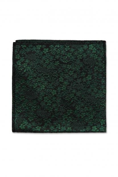 Dark Green Floral Pocket Square