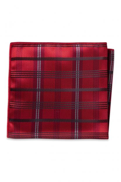 Apple Red Plaid Pocket Square