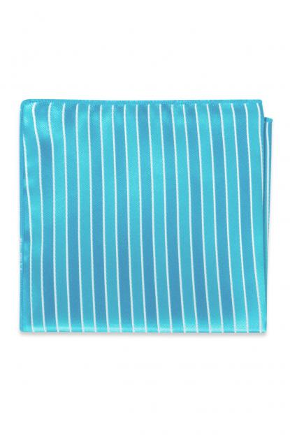 Blue Ice Striped Pocket Square