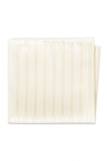 Diamond White Striped Pocket Square