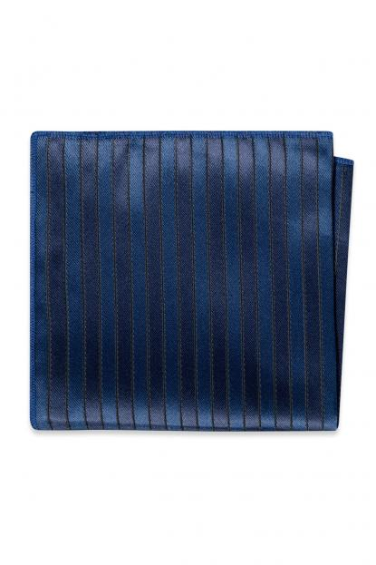 Navy Striped Pocket Square