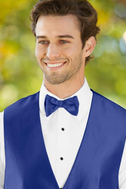 Herringbone Royal Blue Bow Tie