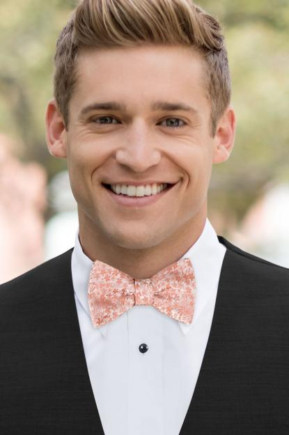 Dusty Coral Floral Bow Tie