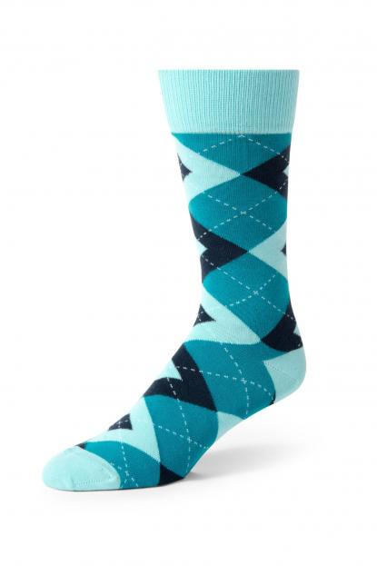 Teal Argyle Socks