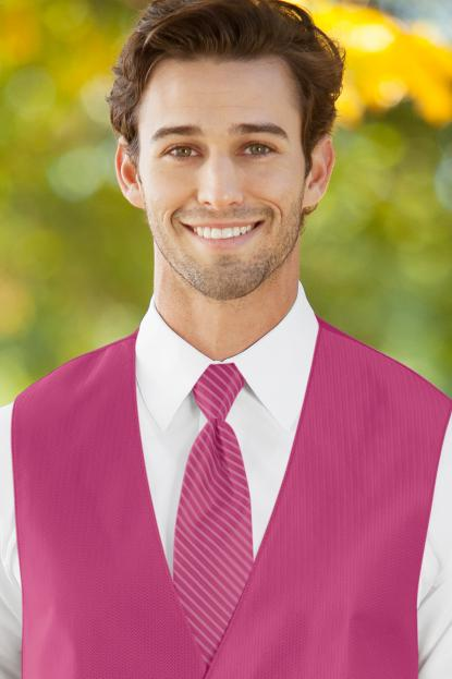 Striped Herringbone Bright Fuchsia Windsor