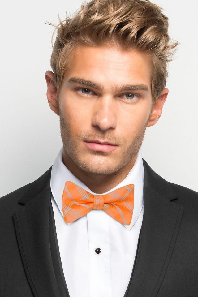 Orange Plaid Bow Tie
