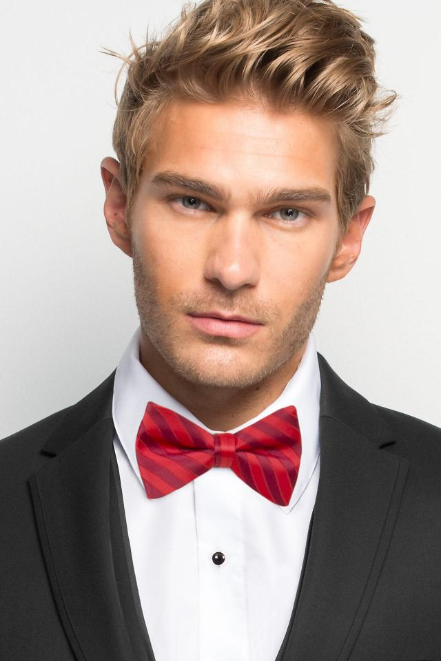 Ruby Striped Bow Tie