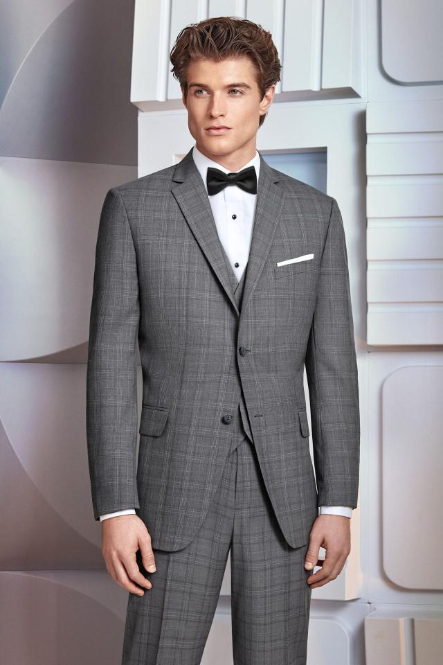 Ike Behar Ultra Slim Grey Plaid Hamilton Suit Ultra Slim Fit Suit