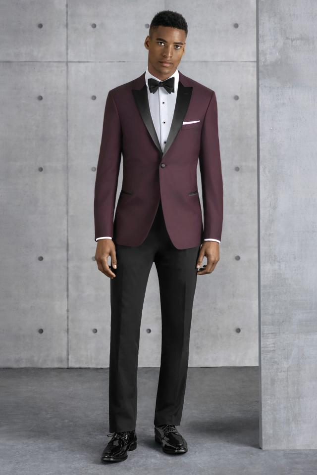 Kenneth Cole Ultra Slim Burgundy Empire Ultra Slim Fit Tuxedo